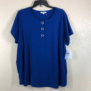 89th & Madison Top Blouse  Blue  NWT 2X